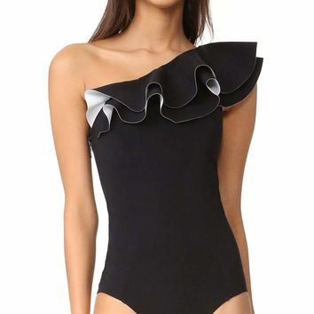 Duncan Ruffled Shoulder One Piece Swimsuit