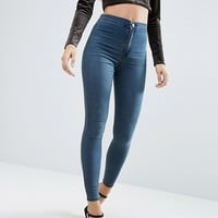 ASOS Rivington Denim High Waist Jeggings In Claire Darkwash at asos.com