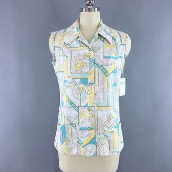 Vintage 1960s Blouse / 60s Hawaiian Print Blouse / Sleeveless Summer Button Down Shirt / Aqua Yellow Mod Print / Size Small 4