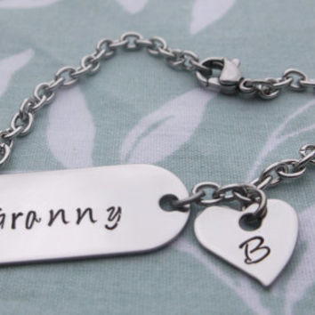 Bracelet with Small Initial Heart Charm - Customize name/initial