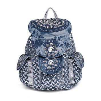 University College Backpack Atrra-Yo  Travel Women  Rhinestone Denim Bag Woven Stitching   Fashion Travel s A6437AT_63_4
