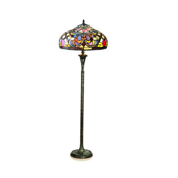 "Kelly, Tiffany-Style 3 Light Victorian Floor Lamp 20"" Shade"