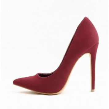 Shoe Republic Kimiko Wine Pointy Toe High Heels Stiletto Pumps wowtrendz