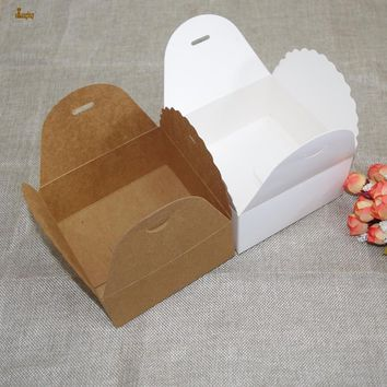20pcs/12x12x6cm White/brown Square Cookie Boxes Kraft Paper Small Chocolate Macaron Package