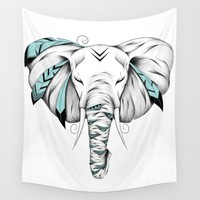 Poetic Elephant Wall Tapestry by LouJah