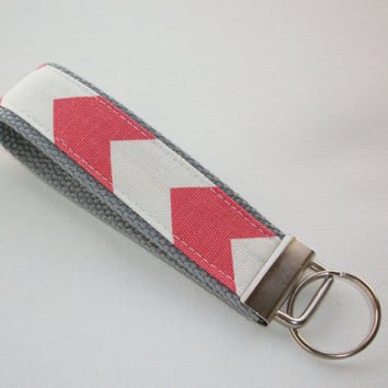 Key FOB / KeyChain / Wristlet  - Coral chevron on gray - Zig Zag