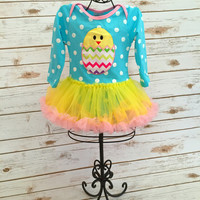Baby Girl Easter Onesuit, Easter Tutu, Toddler Easter Onesuit, Chick Onesuit, First Easter Outfit, 1st Easter Outfit, Baby Girl Tutu