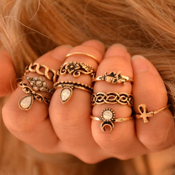 10pcs/set Statement Ring Set Antique tibetan Gypsy Boho Knuckle Rings For Women Retro Vintage Silver Jewelry