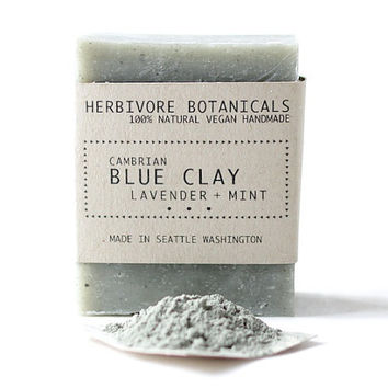 Cambrian Blue Clay Soap. Face and Body Soap. Vegan Handmade Soap. 100% Natural. Lavender Mint. Essential Oil.
