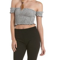 Black/White Shirred Off-the-Shoulder Crop Top by Charlotte Russe