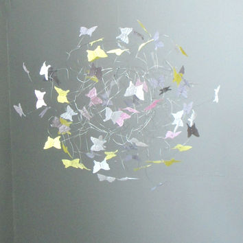 Hanging Butterfly Mobiles for Girls Room, Nursery Baby Crib Mobiles, Baby Shower Gift, Baby Girl Mobiles