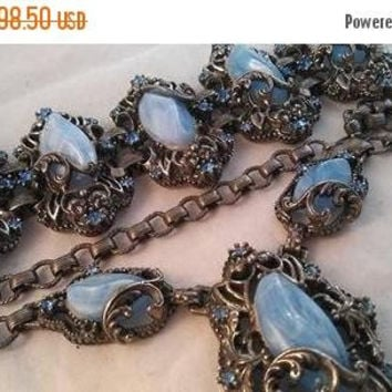 ON SALE Vintage Blue Rhinestone Necklace Bracelet Set - 1940's Art Deco Jewelry - Vintage Bridal Wedding Jewelry - Demi