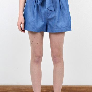 Dressier Denim + Ribbon Belt High Waist Shorts {Dark}