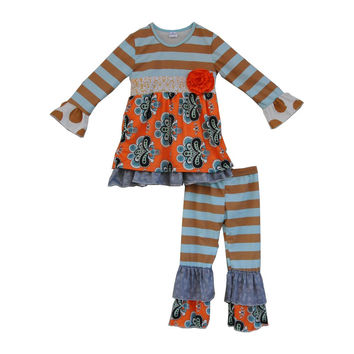 Fall Kids Outfits Persnickety Remake girls 2 Pieces Sets Newborn Baby Floral Clothes Winter Boutique Children Clothing Sets F066