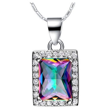 Accessories 925 Silver Multi-color Gemstone Colorful Necklace = 5839687105