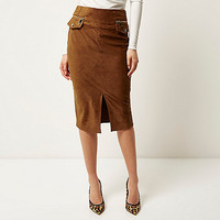 Rust brown faux suede pencil skirt - tube / pencil skirts - skirts - women