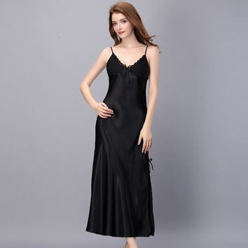 1947 Summer Slipt Sexy Nightwear Women Long Satin Nightgown Lace Patchwork Adjustable Strap Sexy Sleeping Dress Home Clothing