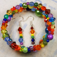 Crazy Rainbow Memory Wire Bracelet and Earrings