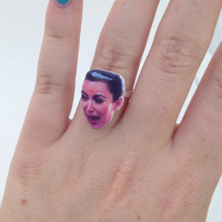 Kim Kardashian Crying Face Celebrity Face Adjustable Ring