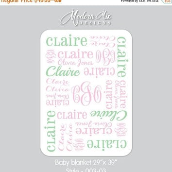 Personalized Baby Blanket Monogram Blanket Stroller Blanket Swaddle Blanket Receiving Blanket Baby Gift Photo Prop Birth Announcement 003
