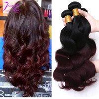 8A Ombre Brazilian Hair 2 Tone Brazilian virgin Hair body wave Red Human Hair Extensions Ombre Hair Body Wave 1b /99j 4 bundles
