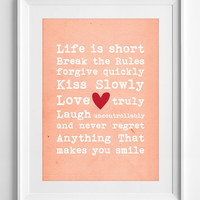Printable Poster Life is short inspirational quote Printable Quotes pastel Wall Decor  typography Wall Art gift Affirmation ALL SIZES, A3