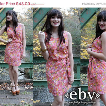 ON SALE Vintage 90's Guess by Georges Marciano Pink Floral Wrap Sun Dress S M