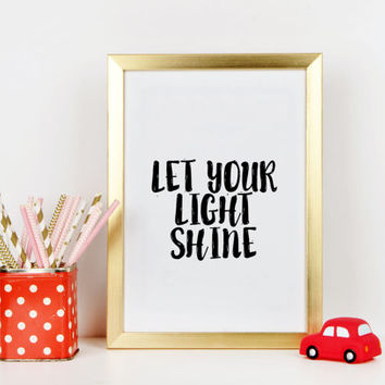 Let Your Light Shine Tribal Quote Art Print Nursery Cabin Decor Kid's Room Decor Camping Print Lantern Nursery Print Instant Download