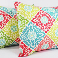 Decorative Throw Pillows - Two Pillow Covers in Coral and Teal - 16 x 16 Coral Throw Pillows - Teal Coral Pillow Cover - Coral Throw Pillow