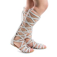 Ranger Gray By Soda, Light Gray Knee High Open Toe Gladiator Cut Out Lace Up Flat Trendy Sandals