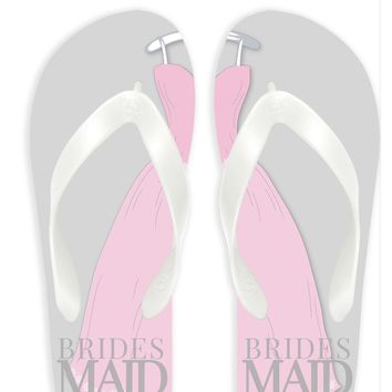 Bridesmaid with Gray Background Flip Flops