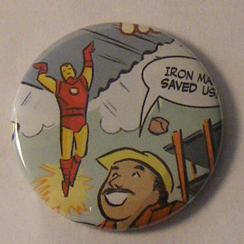 "Comic Book 1.5"" Button// Iron Man 4"