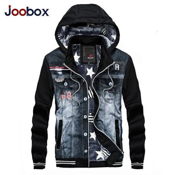 Trendy JOOBOX 2018 New arrival Spring autumn Patchwork Denim Jacket Men Outerwear Fashion Casual Coats Slim Fit Cotton HWY8903 AT_94_13