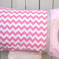 "Personalized Hot Pink Pillow Case- Kids Monogrammed Pillowcase- Standard Pillow Case- 20"" X 29"""
