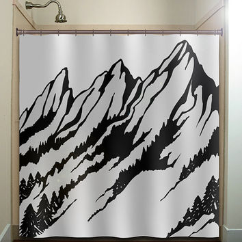 ski slope fir tree range snow mountain shower curtain bathroom decor fabric kids bath white black custom duvet cover rug mat window