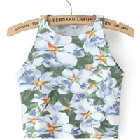 Flower Printed Vest Tank Top