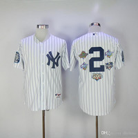 New Baseball Jerseys Yankees #2 Jeter Jersey White Color With 5 World Series Patches Jersey Stitched Size M-XXXL Mix Order All Jerseys