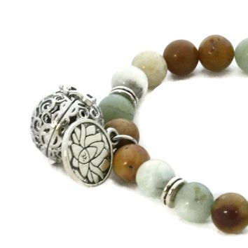 """Canyon"" Natural Stone Essential Oil Diffuser Bracelet- Lotus Charm"