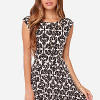 Jacquard-ly Working Black and Cream Dress