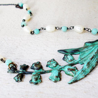 Bell flower pendant necklace, amazonite & freshwater pearls, hand wrapped rosary links, verdigris patina aged brass stamping, floral jewelry