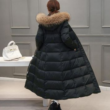 90% duck down fashion brand winter mink real fur collar long down jacket women super long over knee thickening hooded coat w1660