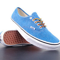 Vans Classic Authentic WASHED CANVAS Skydiver Blue True White Size 9.5