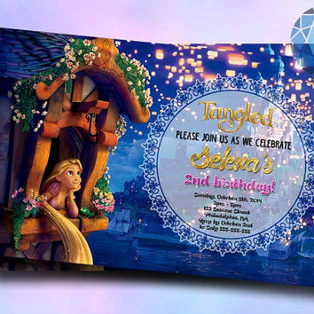 Rapunzel Tangled Night Lamp Design For Birthday Invitation on SaphireInvitations