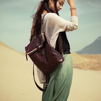 Handmade Leather Backpack Color Blocking | Deep Brown Leather | Adjustable Shoulder Straps