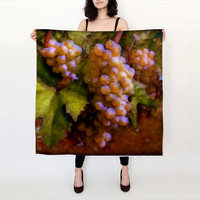 "Wearable Art, custom made, exclusive print design, 100% Habotai Silk Scarf, Sunny Grapes 36""x36"""