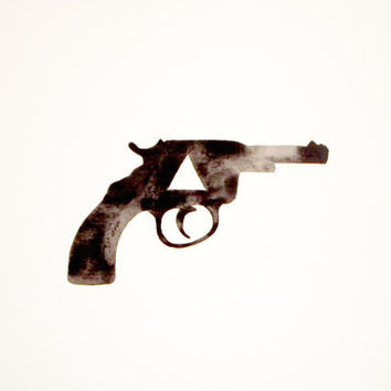 Watercolor - Gun - Original - Black - White - Gray - Geometric - Triangle - Silhouette