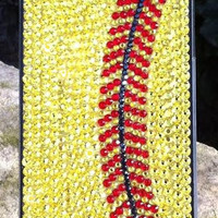 Softball Rhinestone iPhone Case
