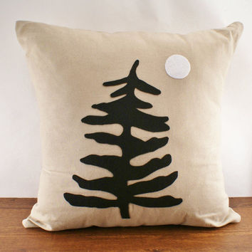 Muskoka Pine Linen Cushion Cover 18x18 by sarahsmiledesign