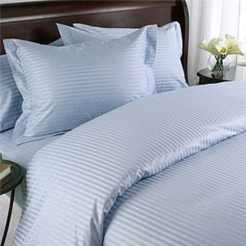 Lt. Blue Damask Stripe Down Alternative 4-PC Comforter Set 100% Egyptian cotton 600 Thread count