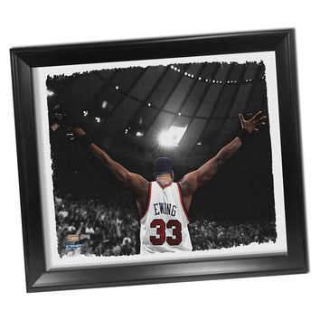 Patrick Ewing Arms Out Framed Stretched 22x26 Canvas